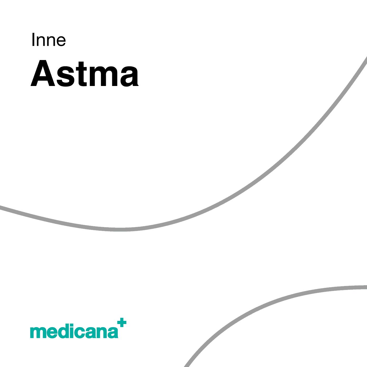 Grafika, białe tło szarą kreską, czarnym napisem Inne - Astma oraz zielonym logo Medicana w lewym dolnym rogu.