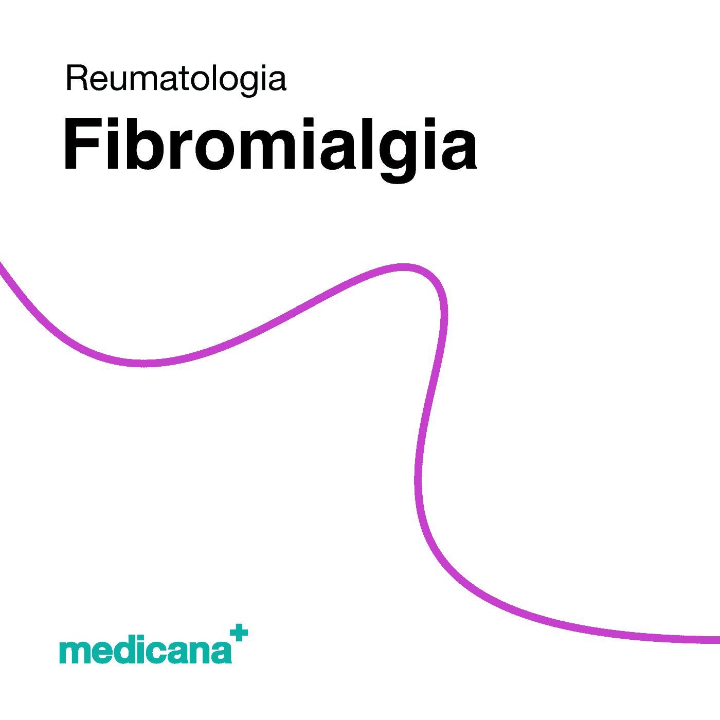 Grafika, białe tło fioletową kreską, czarnym napisem Reumatologia - Fibromialgia oraz zielonym logo Medicana w lewym dolnym rogu.