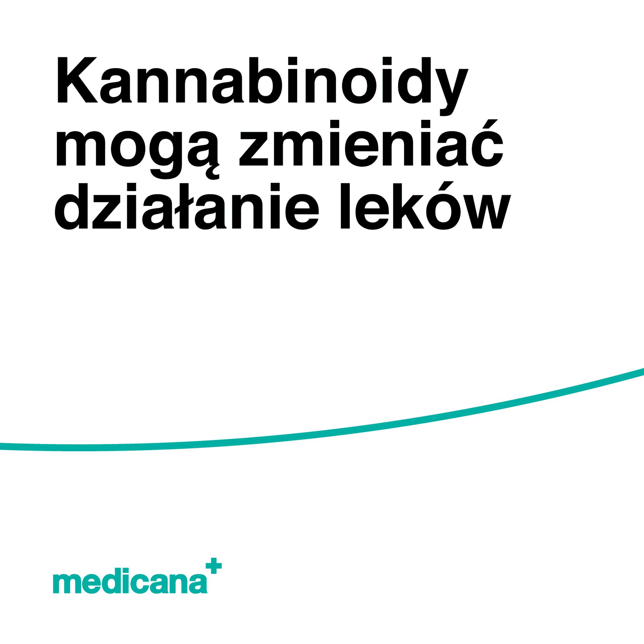 Grafika, białe tło z zieloną kreską i czarnym napisem Kannabinoidy mogą zmieniać działanie leków oraz zielonym logo Medicana w lewym dolnym rogu.