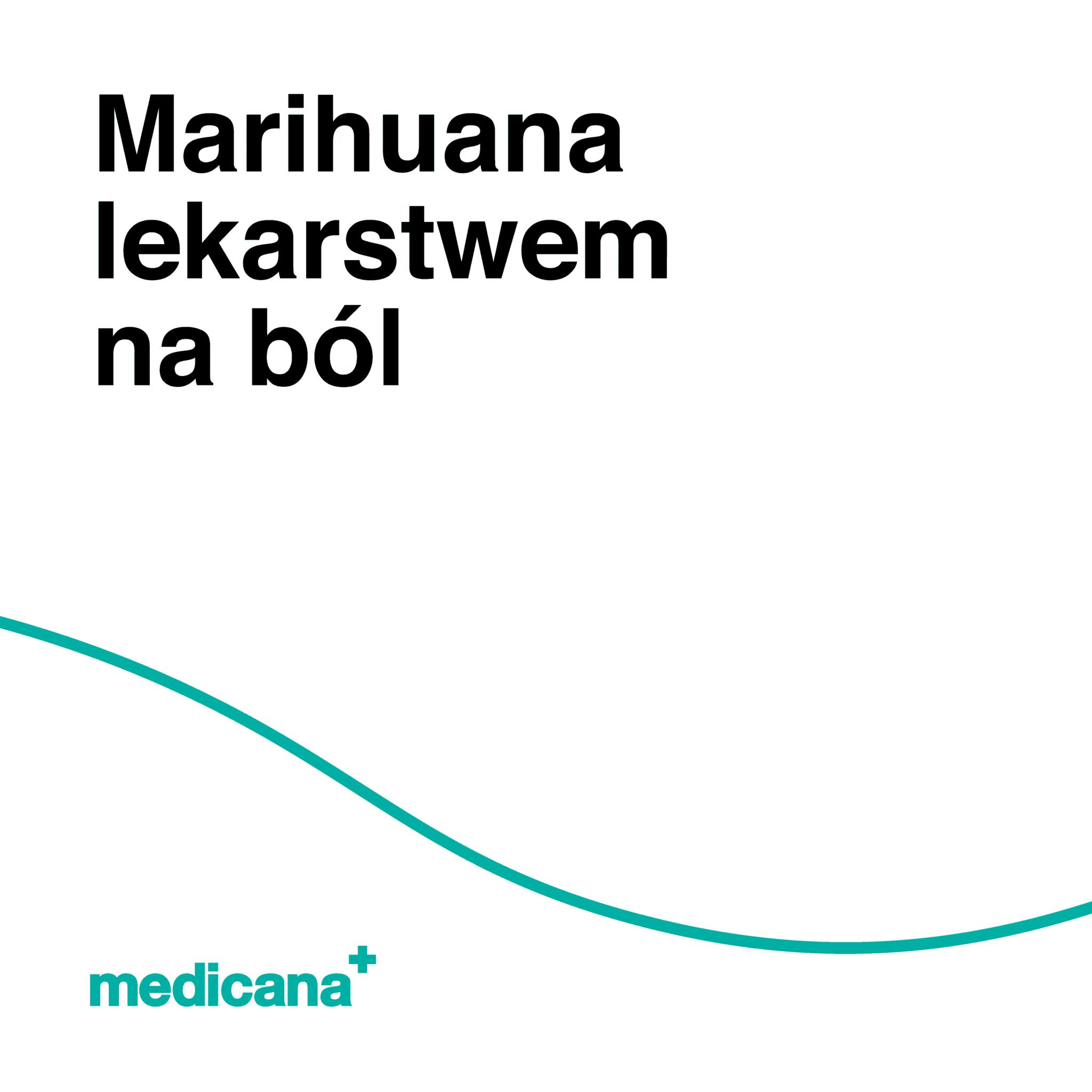 Grafika, białe tło z zieloną linią, czarnym napisem Marihuana lekarstwem na ból oraz zielonym logo Medicana w lewym dolnym rogu.