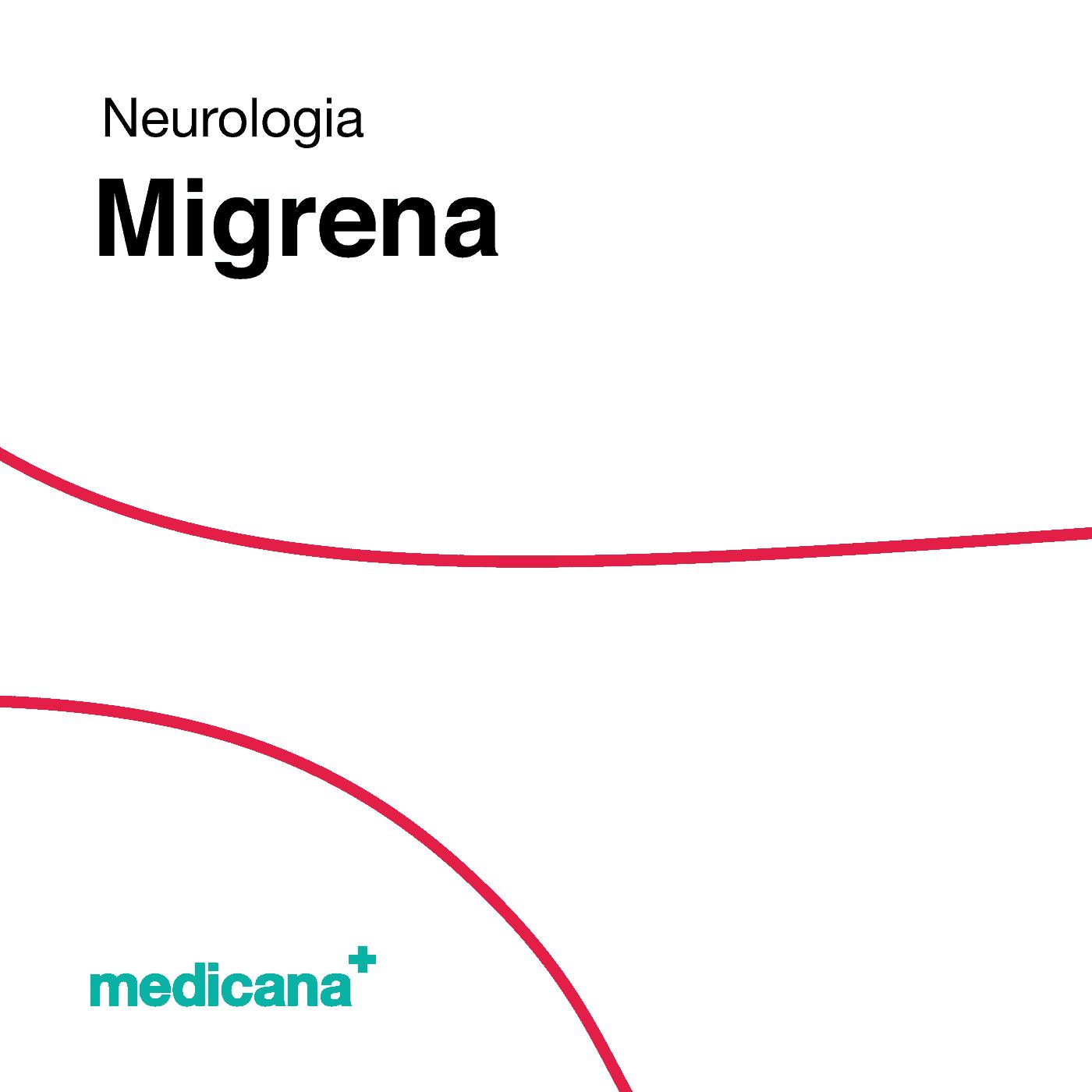 Grafika, białe tło z czerwoną kreską, czarnym napisem Neurologia - Migrena oraz zielonym logo Medicana w lewym dolnym rogu.