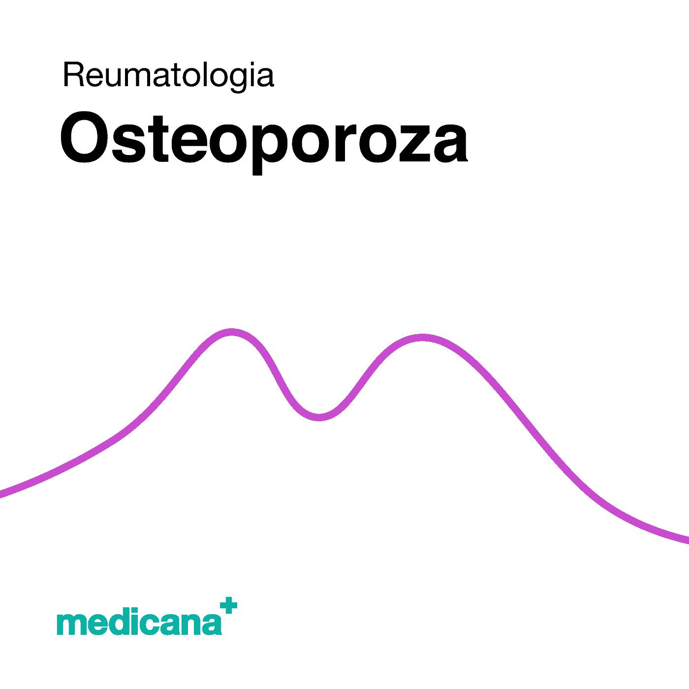 Grafika, białe tło fioletową kreską, czarnym napisem Reumatologia - Osteoporoza oraz zielonym logo Medicana w lewym dolnym rogu.