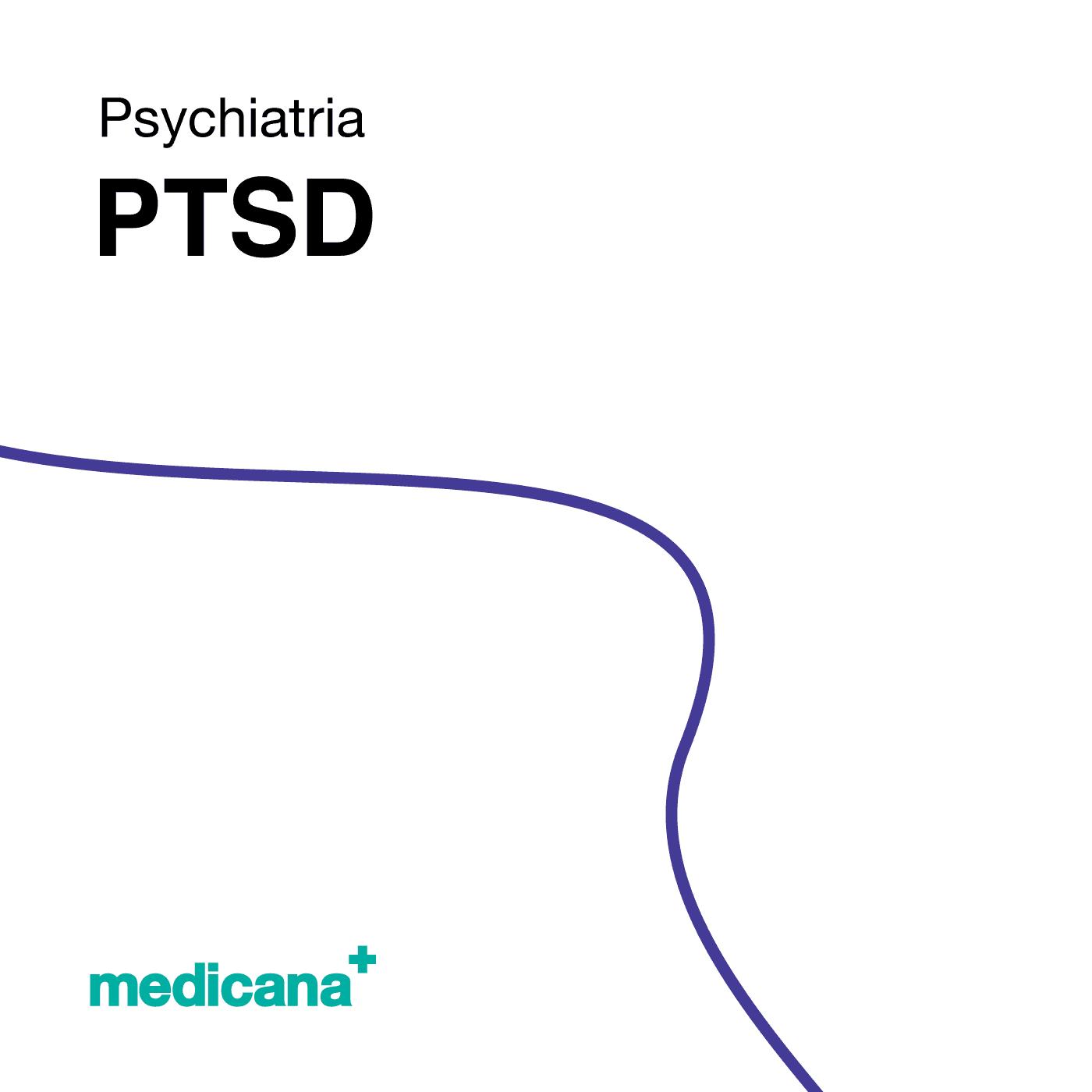Grafika, białe tło z granatową kreską, czarnym napisem Psychiatria - PTSD oraz zielonym logo Medicana w lewym dolnym rogu.