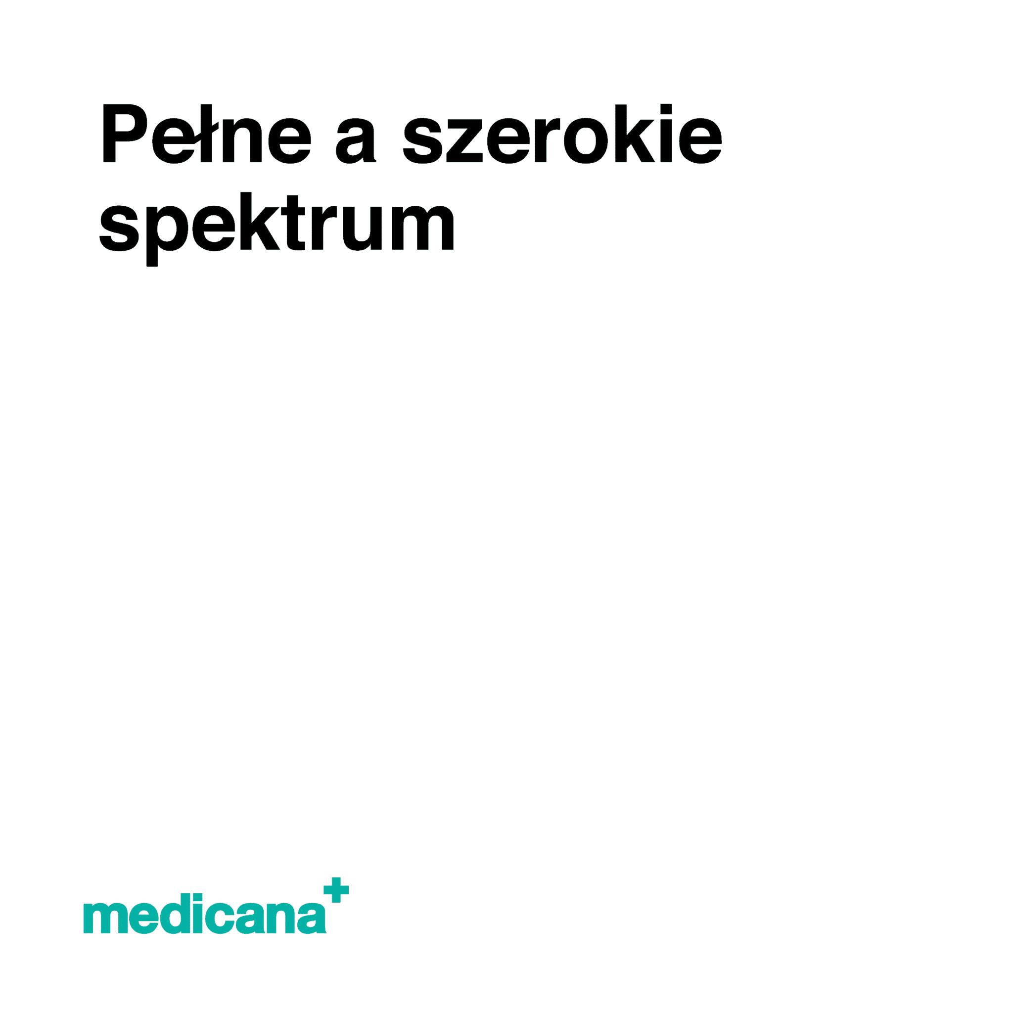 Grafika, białe tło z czarnym napisem Pełne a szerokie spektrum oraz zielonym logo Medicana w lewym dolnym rogu.