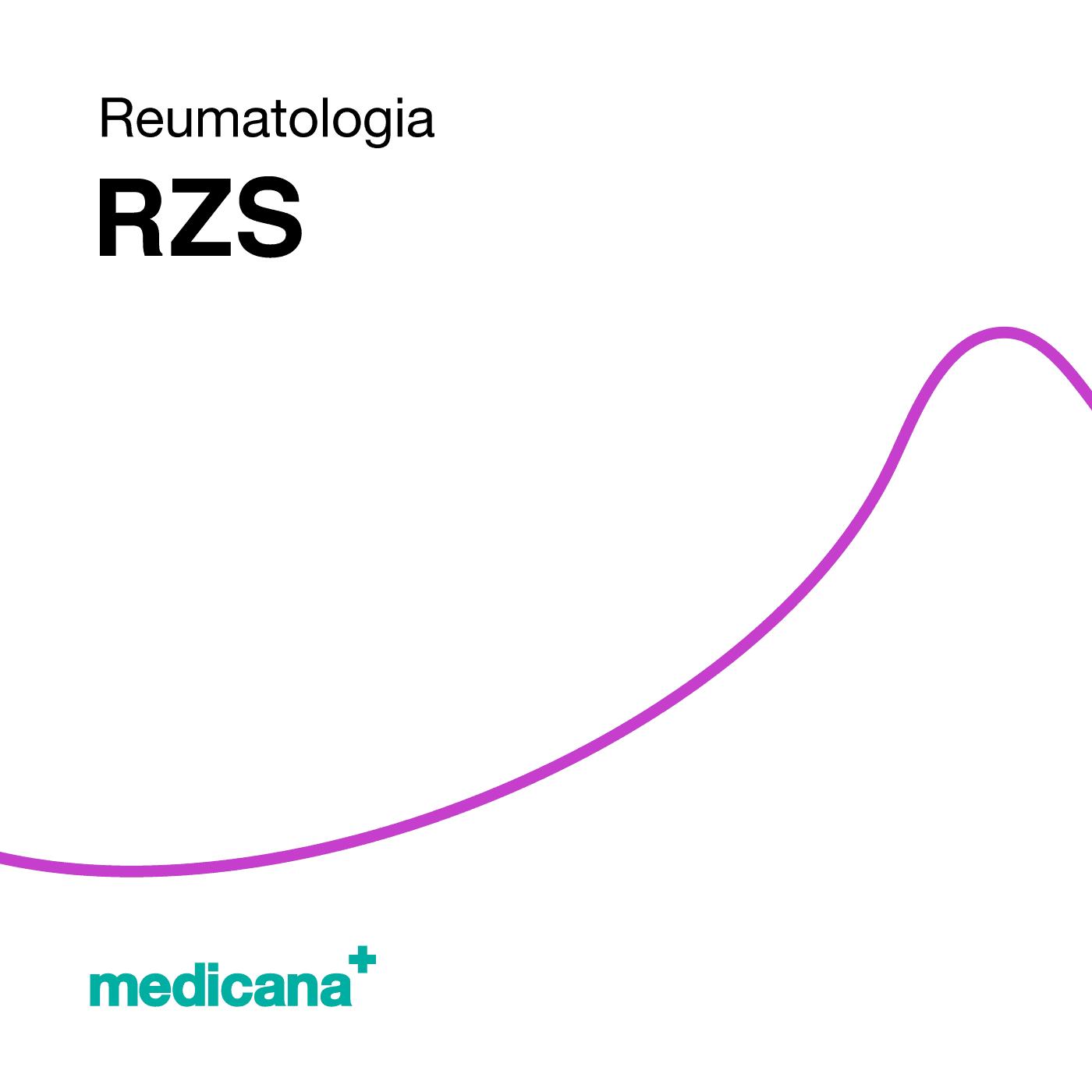 Grafika, białe tło fioletową kreską, czarnym napisem Reumatologia - RZS oraz zielonym logo Medicana w lewym dolnym rogu.