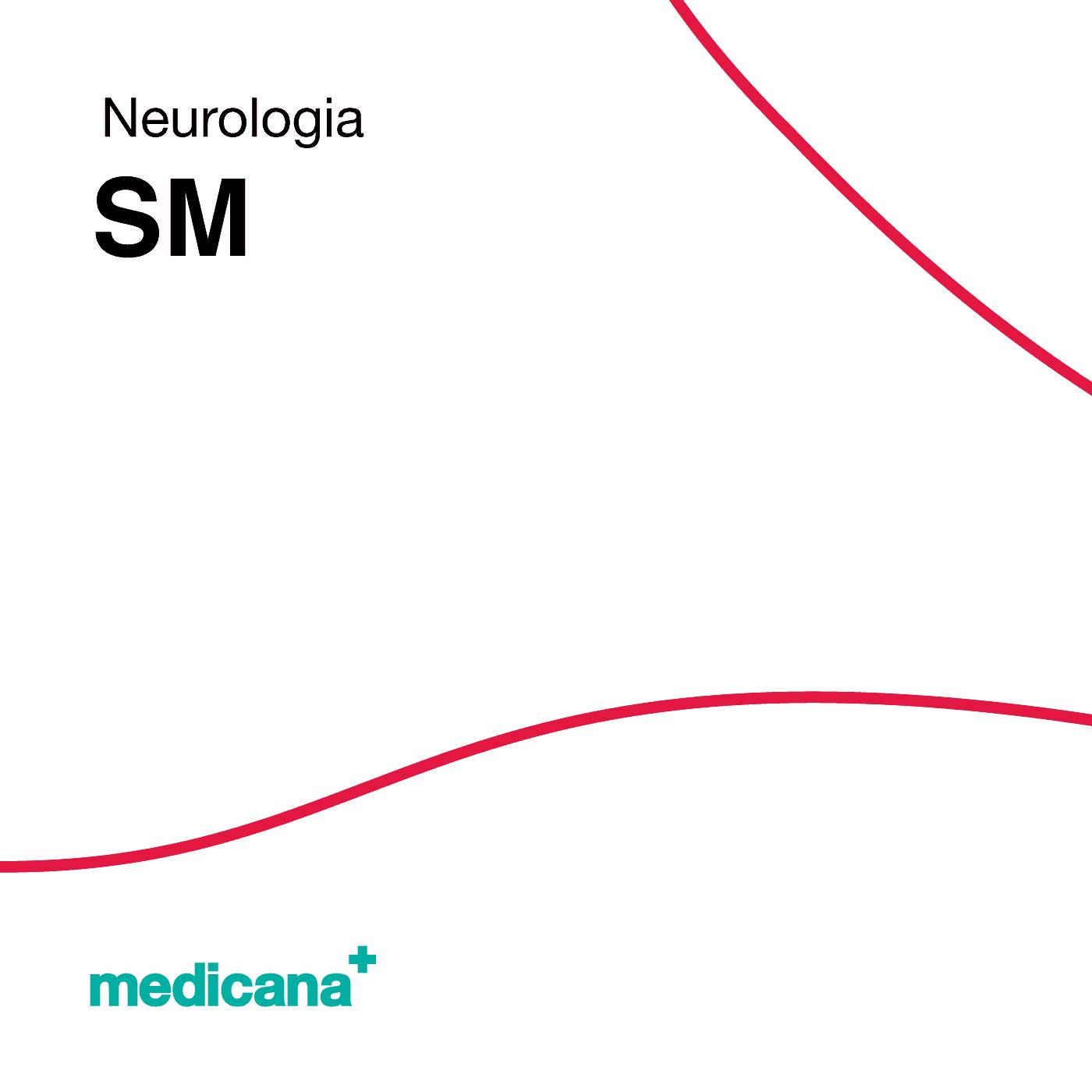 Grafika, białe tło z czerwoną kreską, czarnym napisem Neurologia - SM oraz zielonym logo Medicana w lewym dolnym rogu.