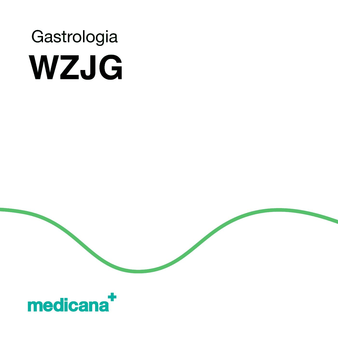 Grafika, białe tło z zieloną kreską, czarnym napisem Gastrologia - WZJG oraz zielonym logo Medicana w lewym dolnym rogu.