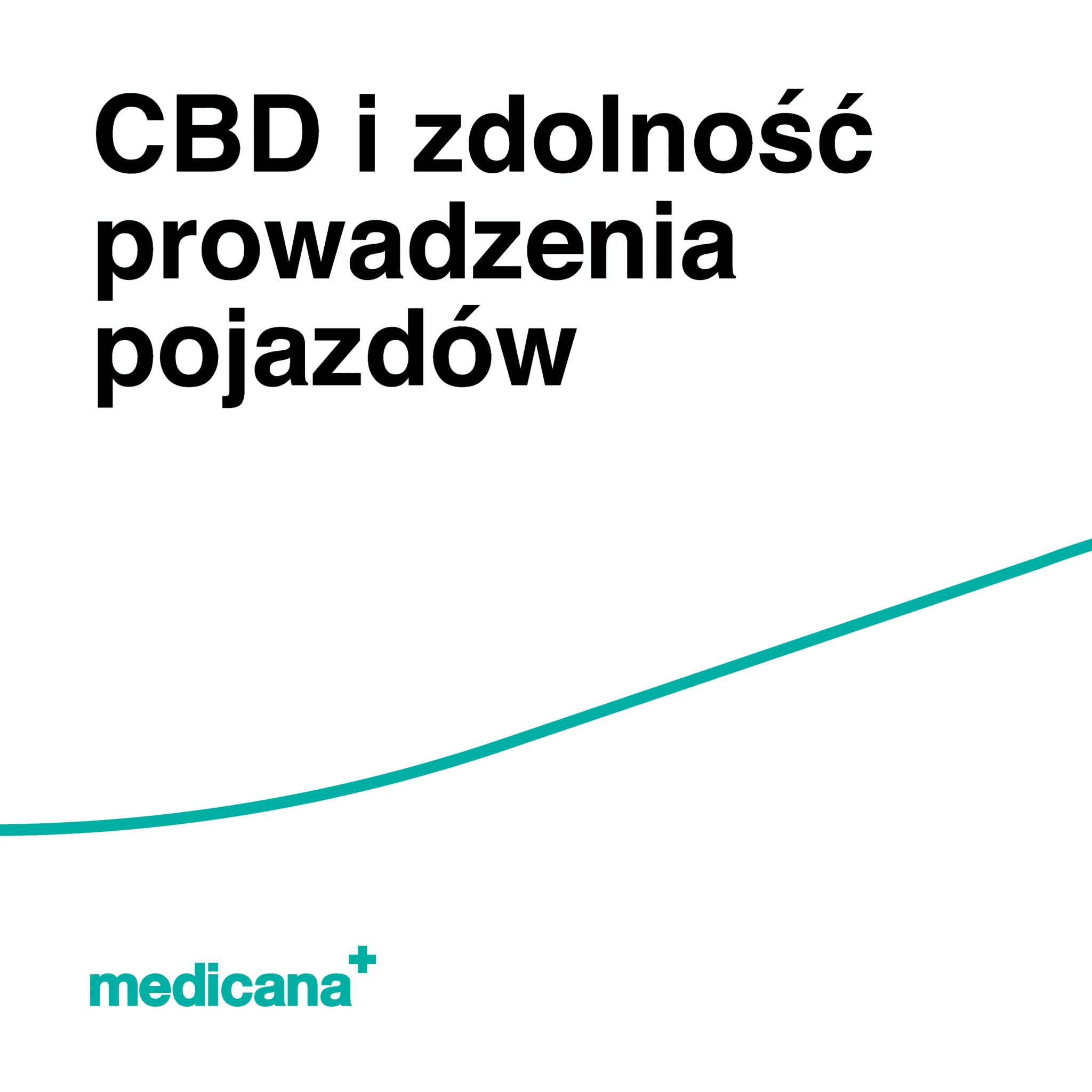 Grafika, białe tło z zieloną linią, czarnym napisem CBD i zdolność prowadzenia pojazdów oraz zielonym logo Medicana w lewym dolnym rogu.