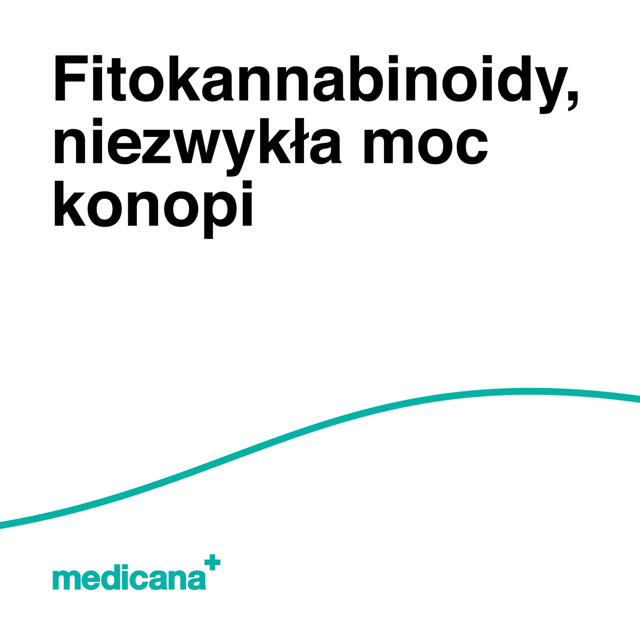 Grafika, białe tło z zieloną linią, czarnym napisem Fitokannabinoidy, niezwykła moc konopi oraz zielonym logo Medicana w lewym dolnym rogu.