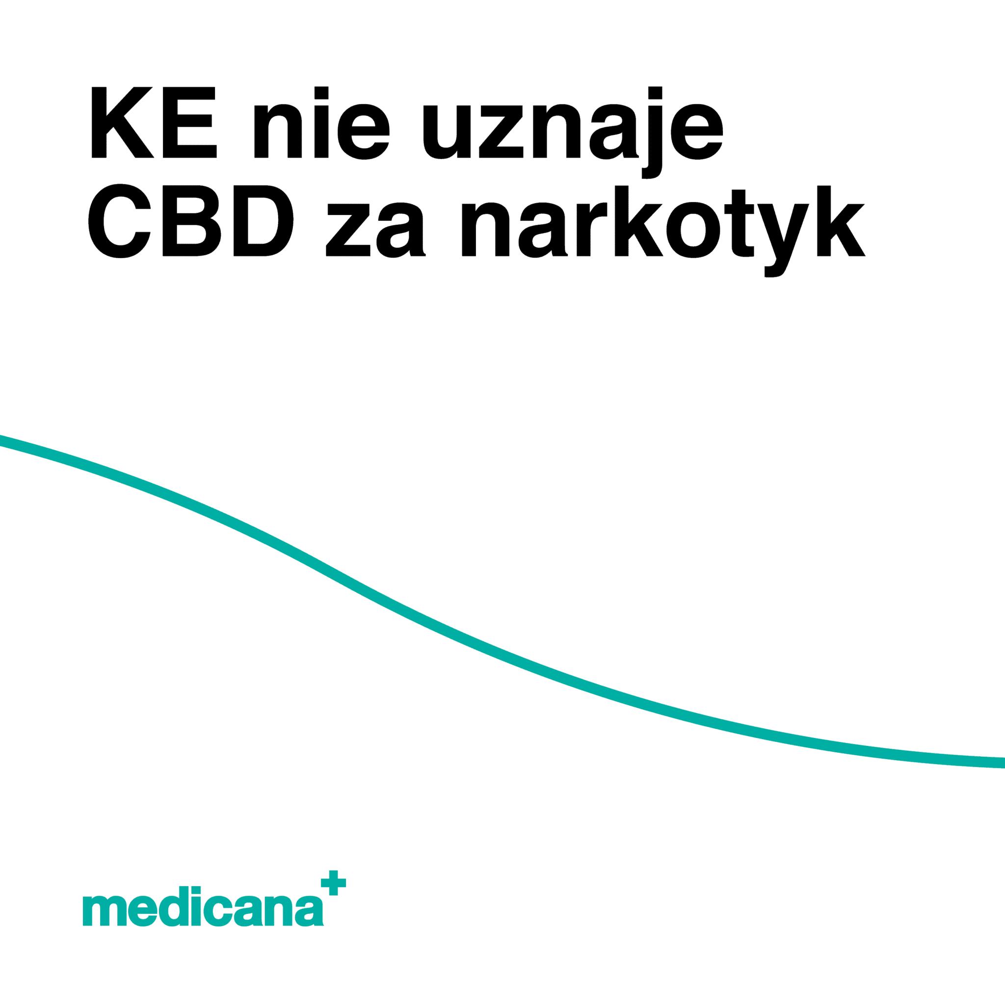 Grafika, białe tło z zieloną linią, czarnym napisem KE nie uznaje CBD za narkotyk oraz zielonym logo Medicana w lewym dolnym rogu.