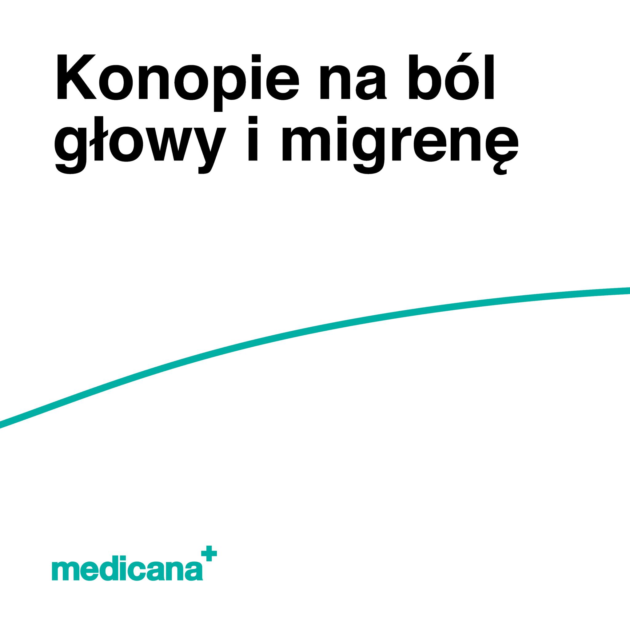 Grafika, białe tło z zieloną linią, czarnym napisem Konopie na ból głowy i migrenę oraz zielonym logo Medicana w lewym dolnym rogu.