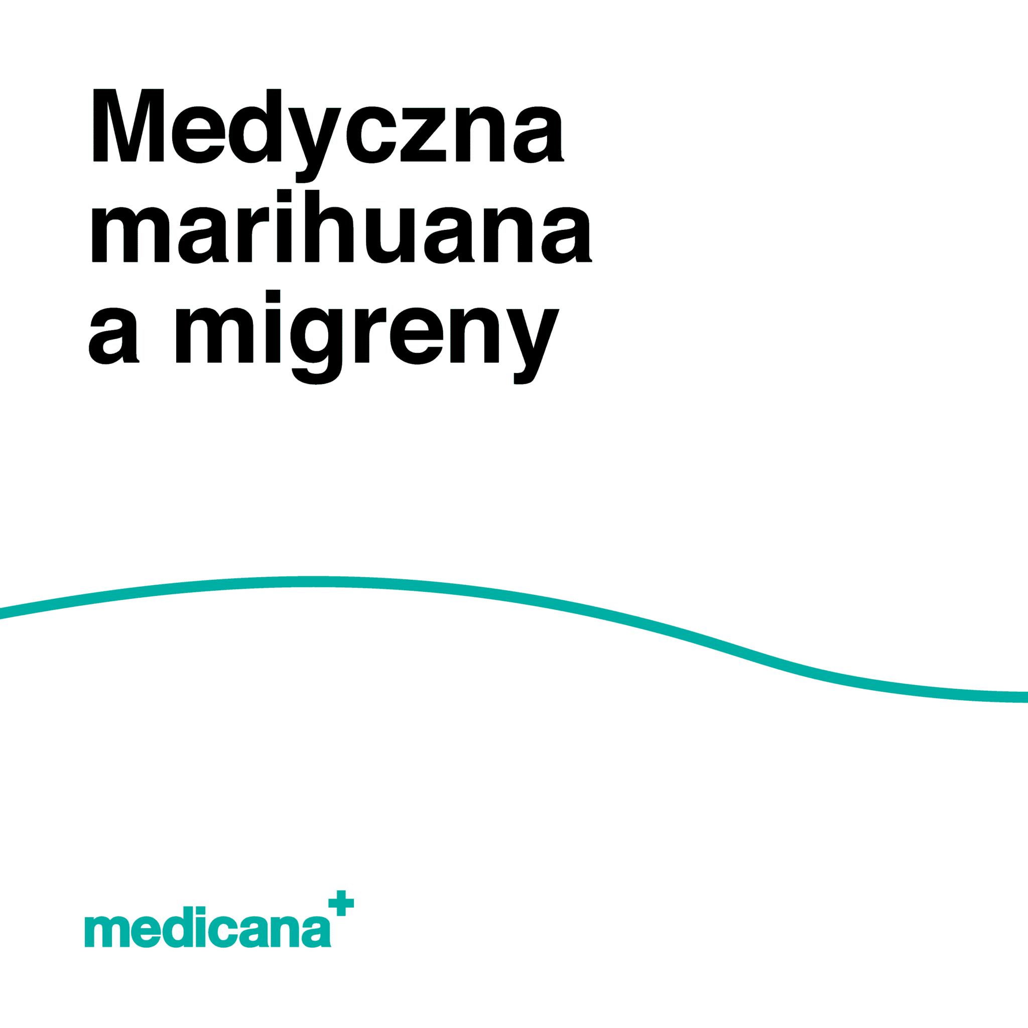 Grafika, białe tło z zieloną linią, czarnym napisem Medyczna marihuana a migreny oraz zielonym logo Medicana w lewym dolnym rogu.