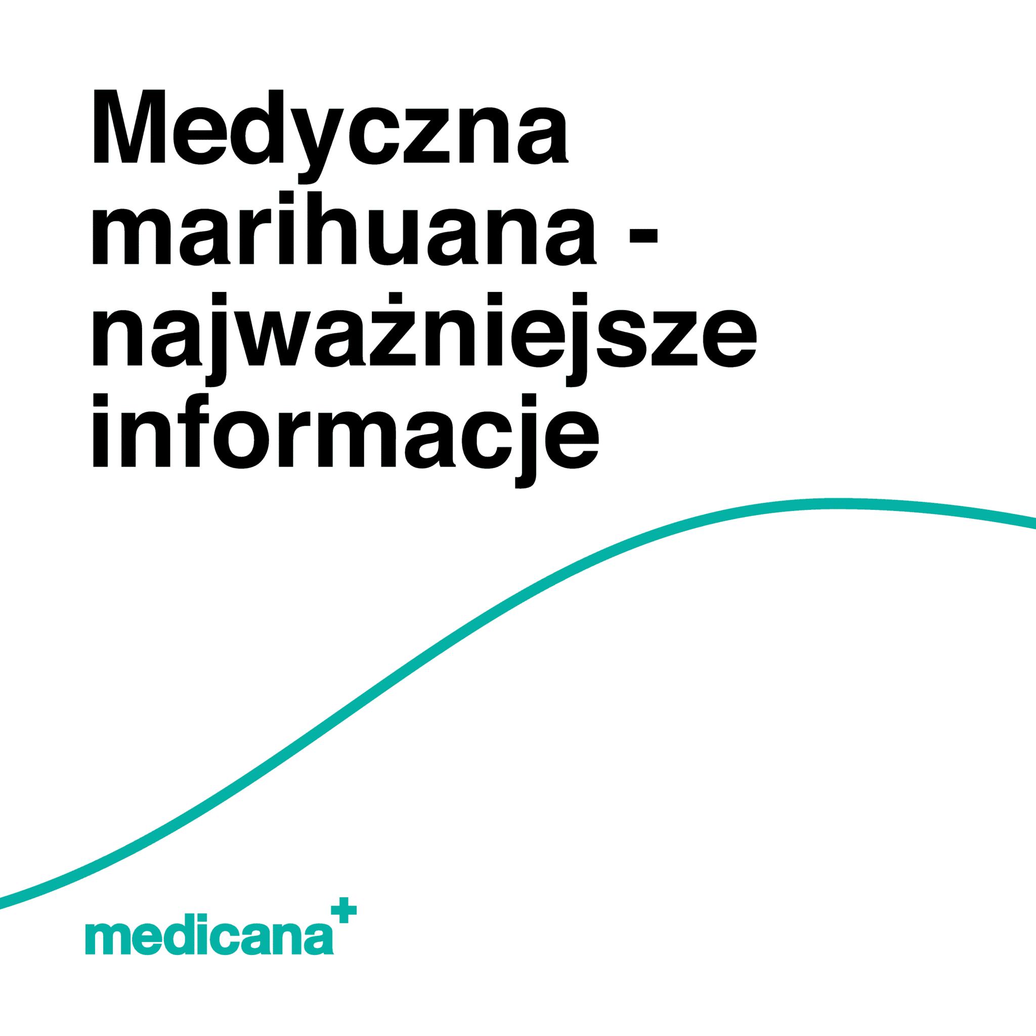 Grafika, białe tło z zieloną linią, czarnym napisem Medyczna marihuana - najważniejsze informacje oraz zielonym logo Medicana w lewym dolnym rogu.