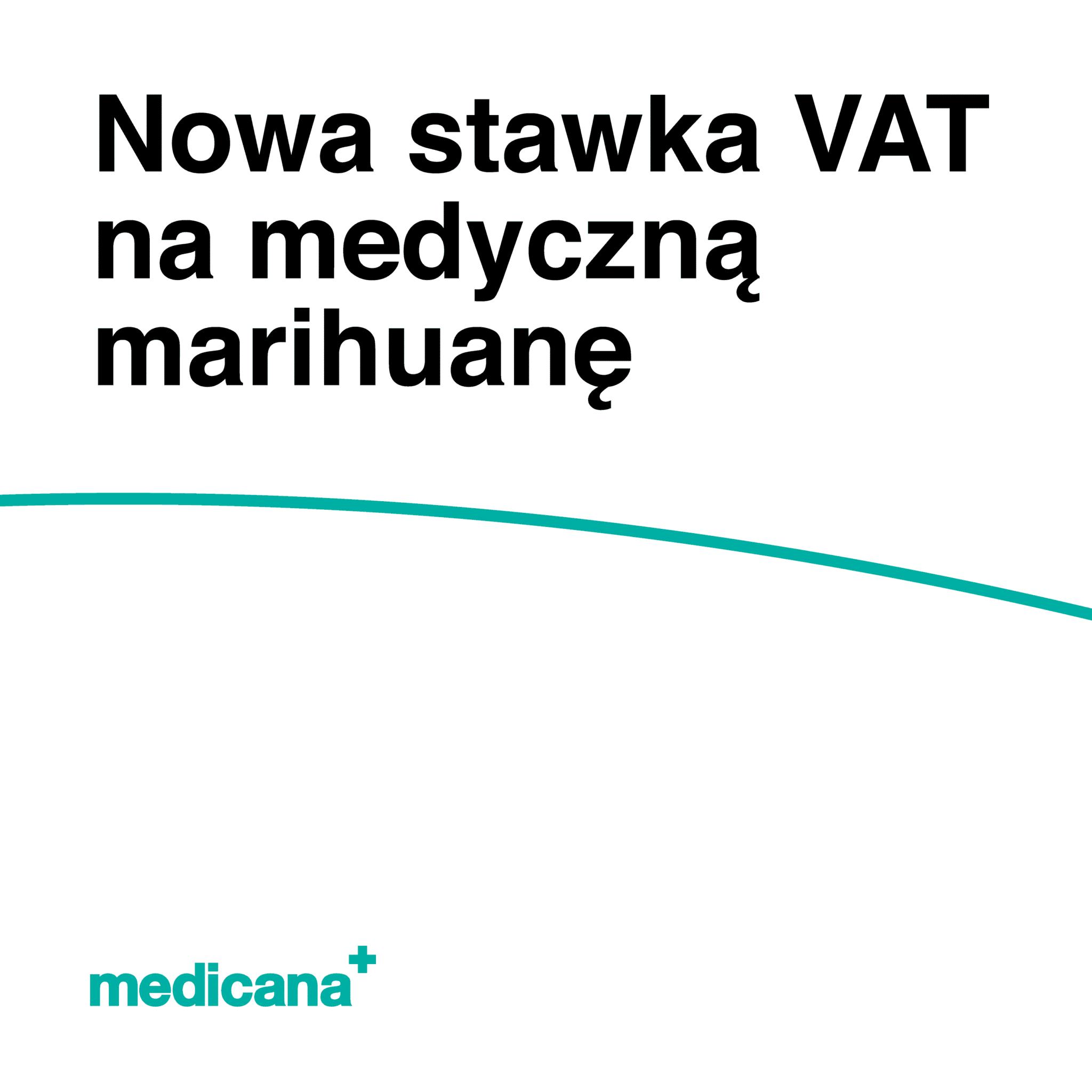 Grafika, białe tło z zieloną linią, czarnym napisem Nowa stawka VAT za medyczną marihuanę oraz zielonym logo Medicana w lewym dolnym rogu.