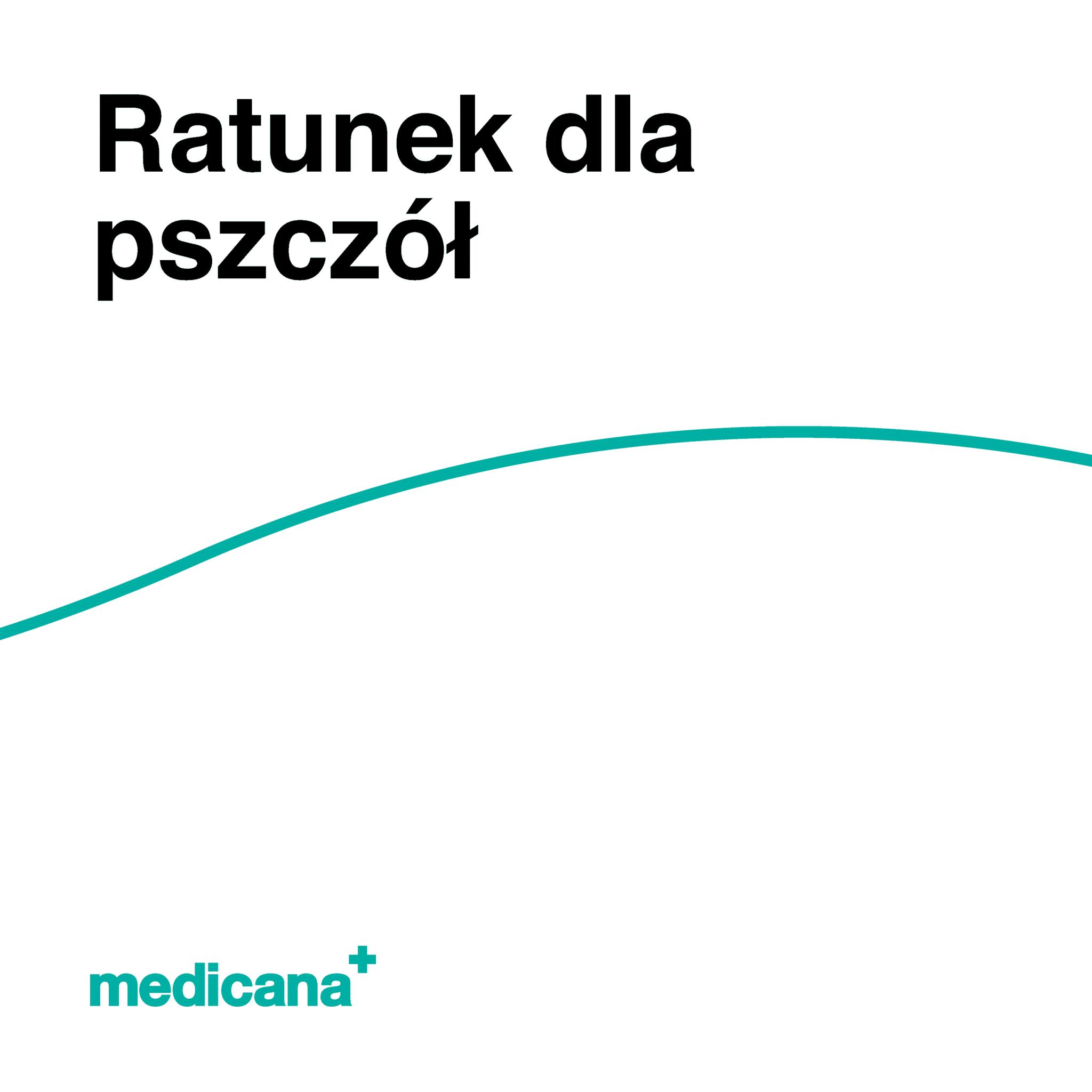 Grafika, białe tło z zieloną linią, czarnym napisem Ratunek dla pszczół oraz zielonym logo Medicana w lewym dolnym rogu.