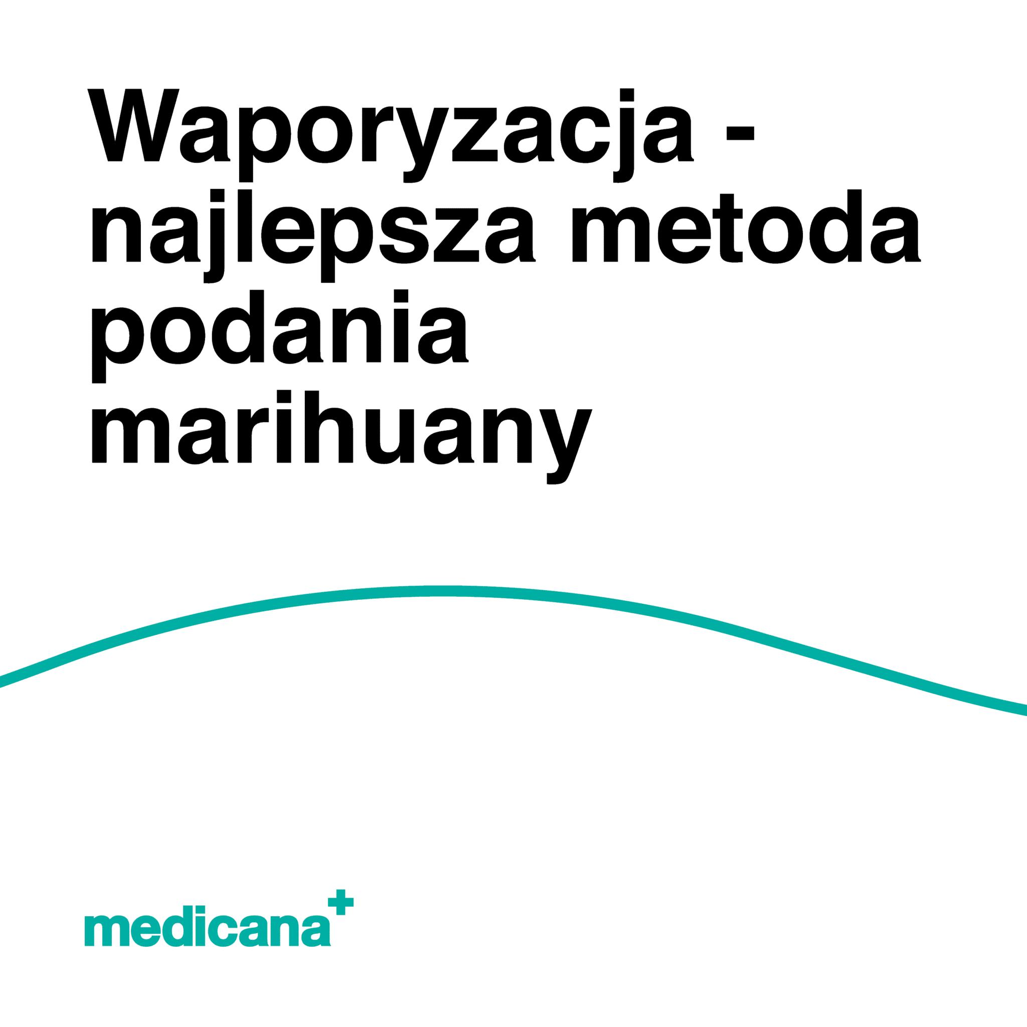 Grafika, białe tło z zieloną linią, czarnym napisem Waporyzacja najlepsza metoda podania marihuany oraz zielonym logo Medicana w lewym dolnym rogu.