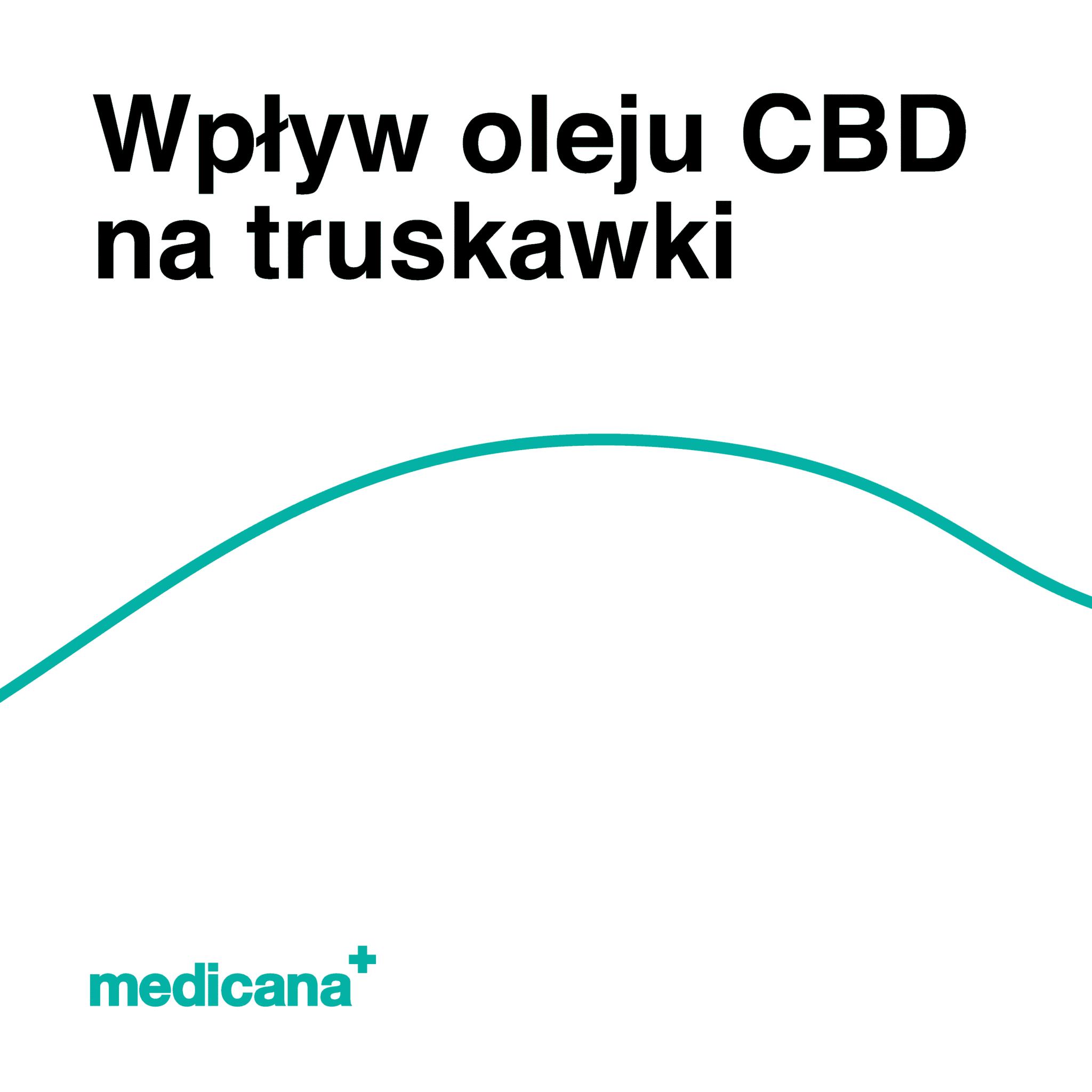 Grafika, białe tło z zieloną linią, czarnym napisem Wpływ oleju CBD na truskawki oraz zielonym logo Medicana w lewym dolnym rogu.