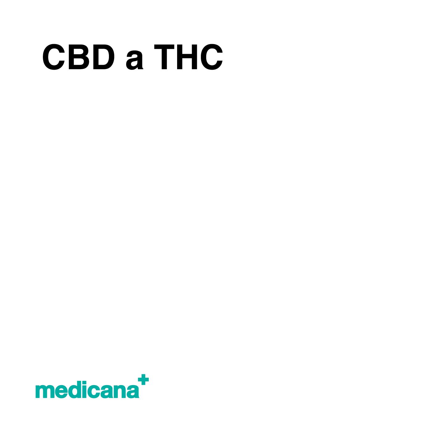 Grafika, białe tło z czarnym napisem CBD a THC oraz zielonym logo Medicana w lewym dolnym rogu.