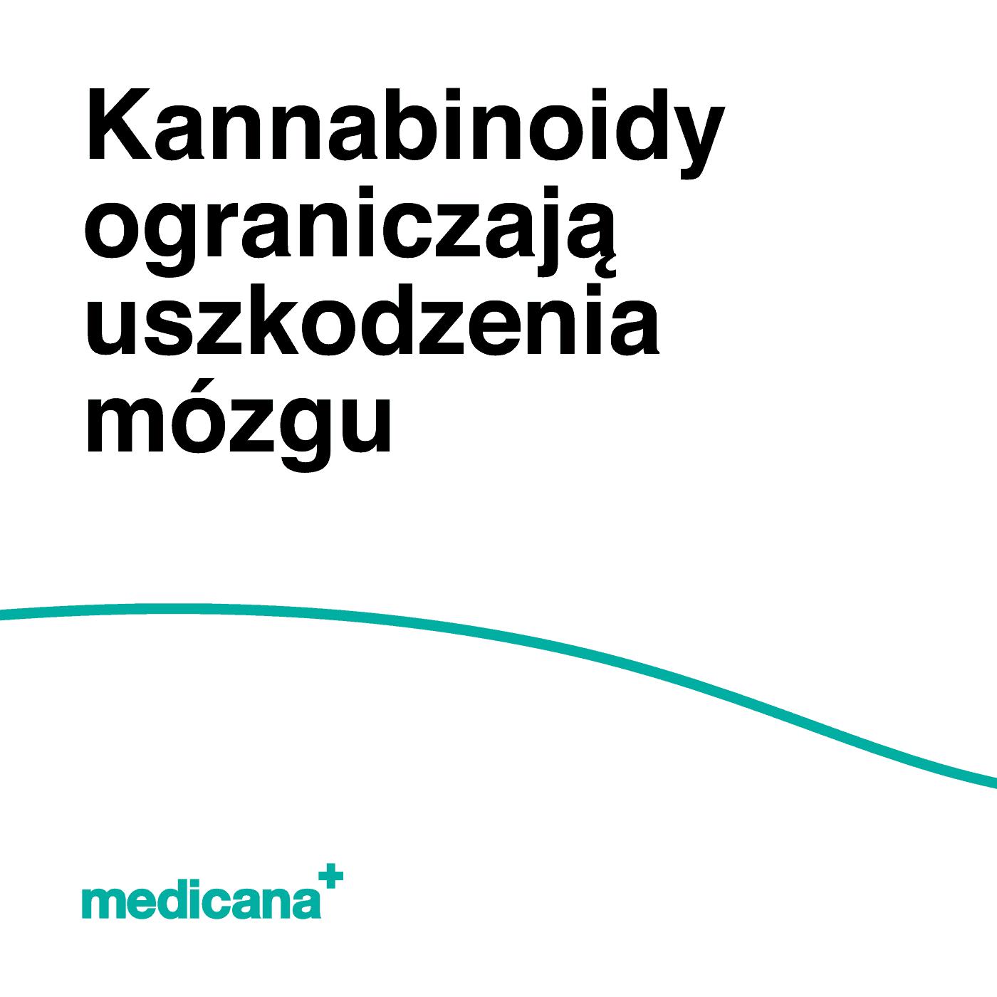 Grafika, białe tło z zieloną linią, czarnym napisem Kannabinoidy ograniczają uszkodzenia mózgu oraz zielonym logo Medicana w lewym dolnym rogu.