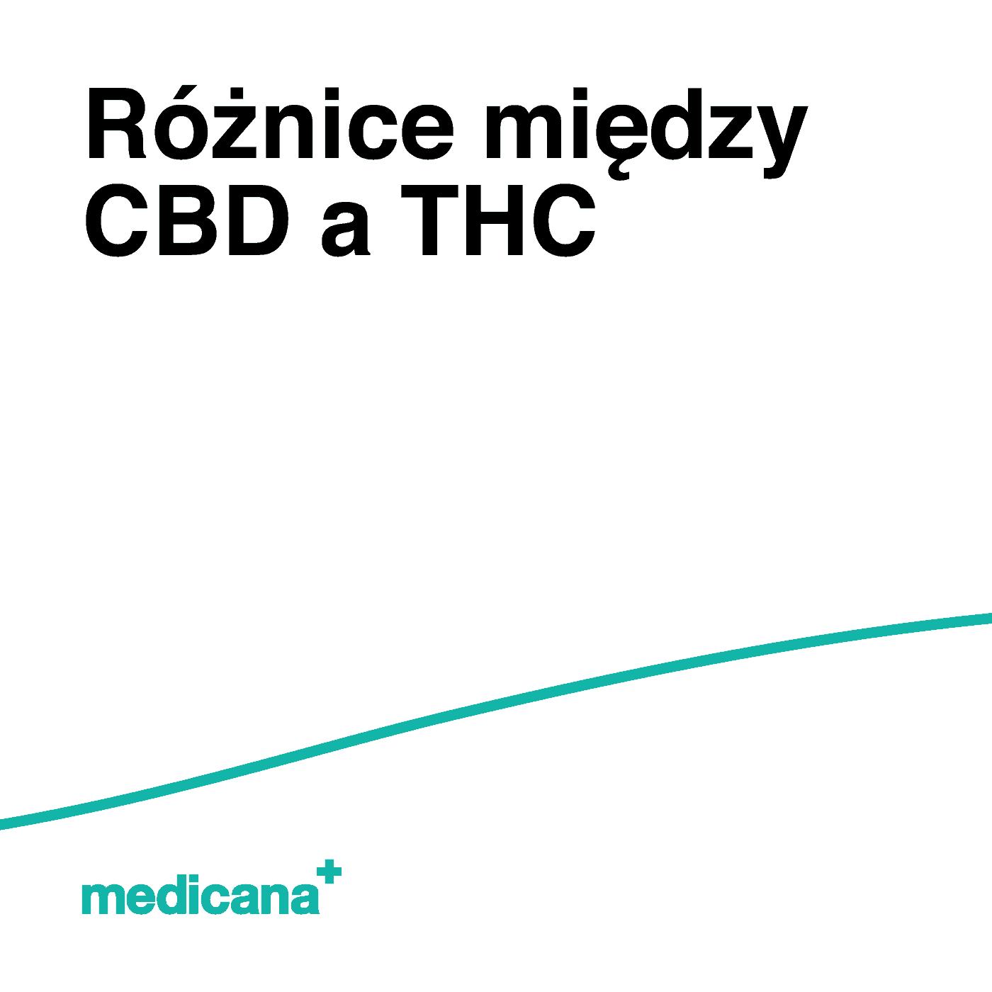 Grafika, białe tło z zieloną linią, czarnym napisem Różnice między CBD a THC oraz zielonym logo Medicana w lewym dolnym rogu.