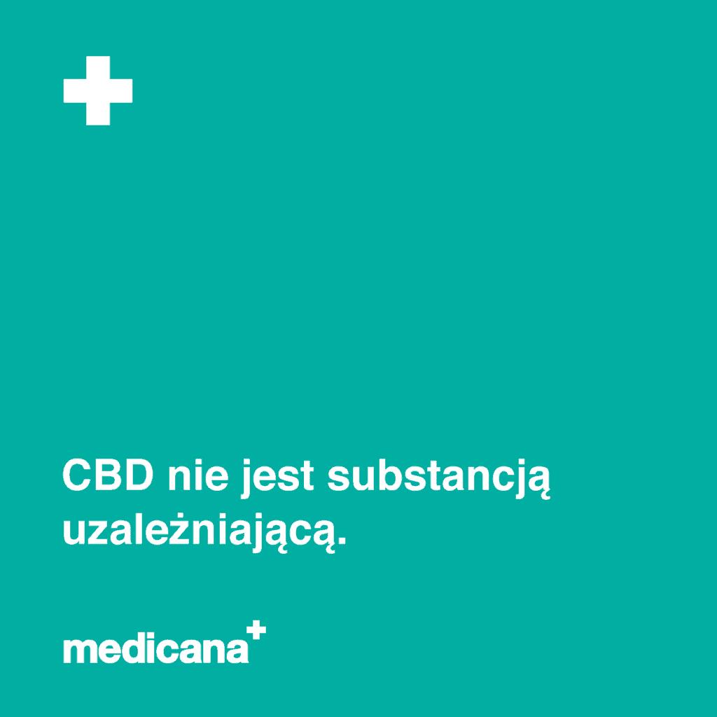 Grafika na zielonym tle napis: CBD nie jest substancją uzależniającą oraz białym logo medicana w lewym dolnym rogu.