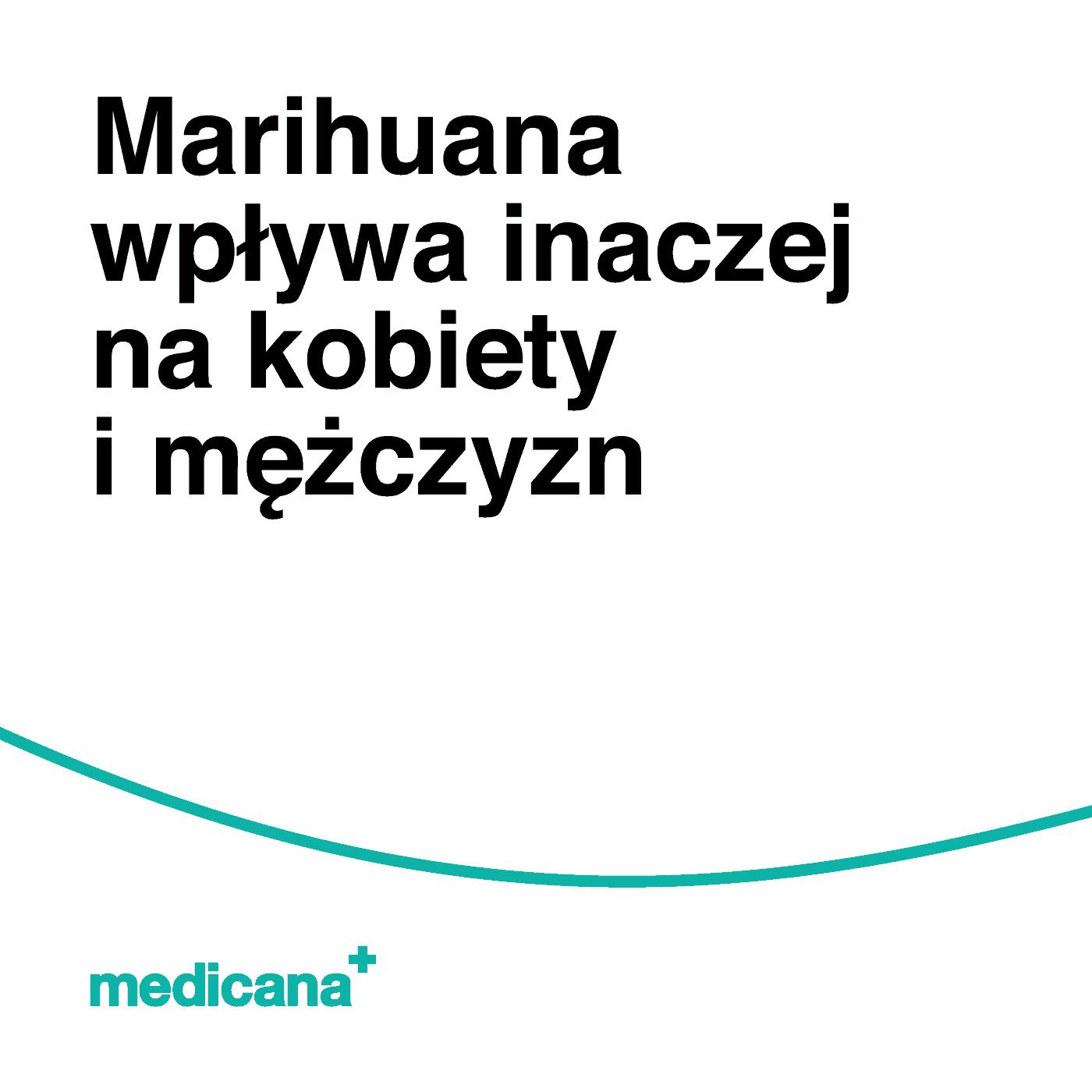 Grafika, na białym tle napis: Marihuana wpływa inaczej na kobiety i mężczyzn. Zieloną linią i logiem medicana w lewym dolnym rogu.