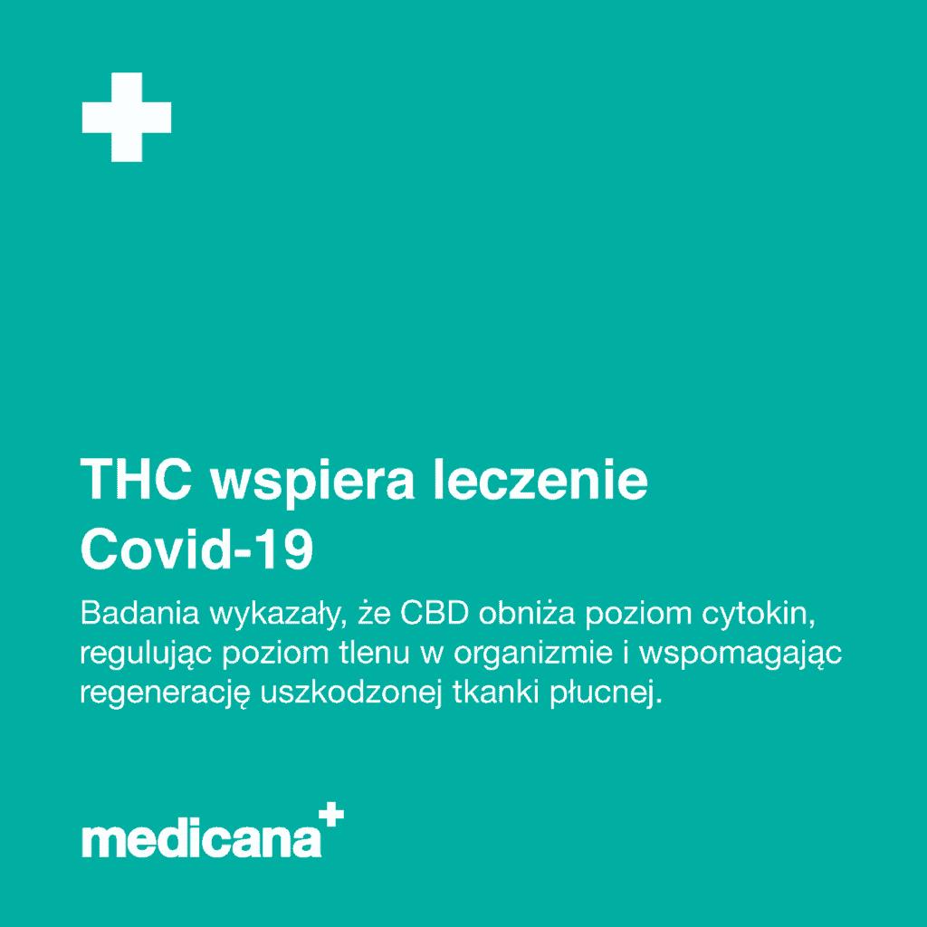 Grafika na zielonym tle napis: THC wspiera leczenie Covid - 19. Badania wykazały, że CBD obniża poziom cytokin, regulując poziom tlenu w organizmie i wspomagając regenerację uszkodzonej tkanki płucnej oraz białym logo medicana w lewym dolnym rogu.