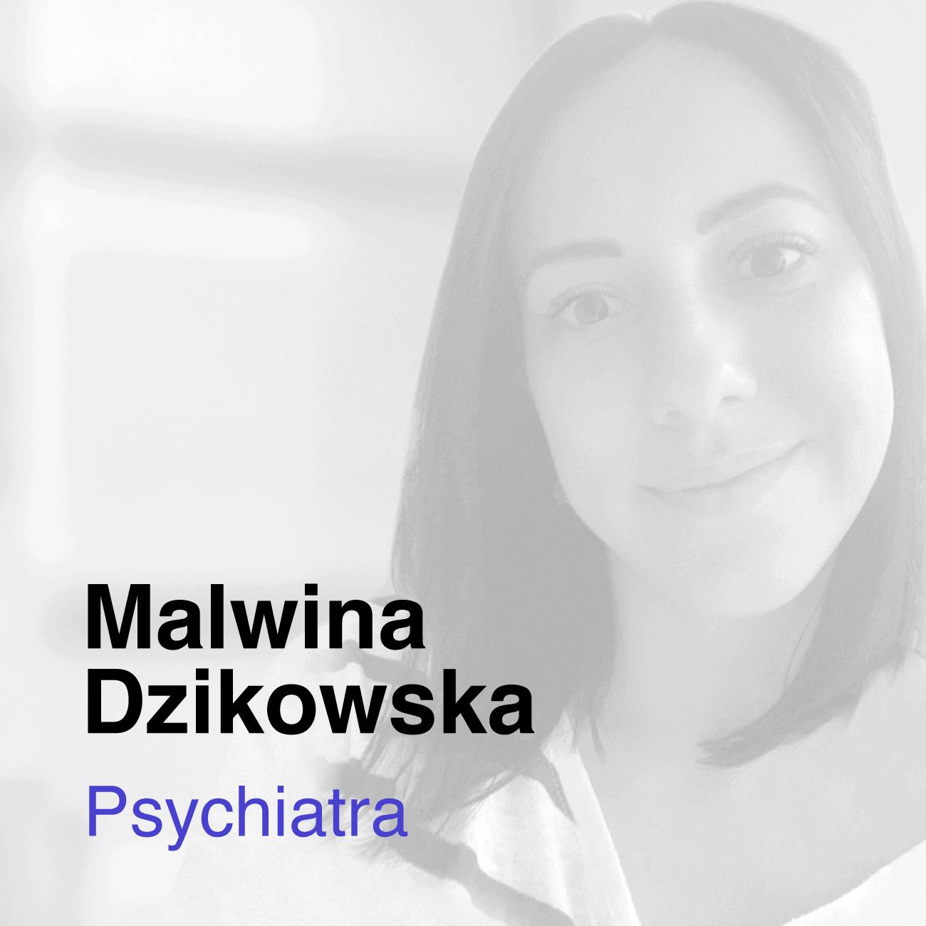 Czarno białe zdjęcie Malwiny Dzikowskiej, która z Medicana współpracuje w roli lekarki Psychiatry
